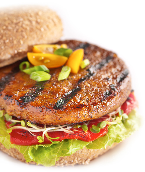 Our tangy Barbecue Burger is made with organic pinto beans and spices ...